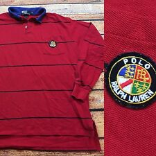 90s VTG POLO RALPH LAUREN COOKIE Made USA Rugby M Shirt STADIUM Striped Pocket