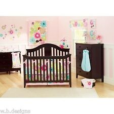 Summer Petals 10-Pc Crib Bedding Set Include Mobile/Valance/Diaper Stacker++ New