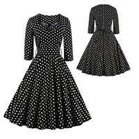 50s 60sVintage Black Polka Dot Rockabilly Swing Pinup Housewife Party Prom Dress