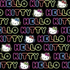 "HELLO KITTY WORD STRIPE Vivid Neon Colors 100% cotton 43"" Fabric by the yard"