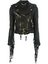 £3995 BURBERRY PRORSUM LEATHER TASSEL BIKER JACKET COAT 36 44 46