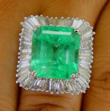 Large Natural 11.88 Carat Colombian Emerald 4.75ct Diamond Ring 14k White Gold