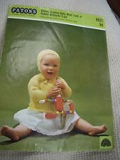 347/   VINTAGE Patons Knitting Patterns Baby Jacket & Hat up to 6 months 3 ply