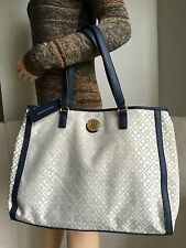 Tommy Hilfiger TH Logo Tote/Silver w/Navy/Large Handbag Shoulder Bag/$99/NWT