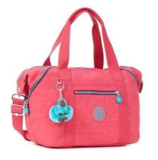 NEW Kipling Art U Vibrant Pink Nylon Satchel Tote Bag Purse HB7018