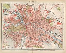 Landkarte 1893: Stadtplan/City Map: BERLIN. STADT Capitol Germany Tiergarten