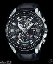 EFR-550L-1A Black Casio Men's Watches Edifice Date Alarm Dual dial world time