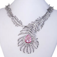Valentine's Gifts for Her Peacock Peafowl Plume Pink Austrian Crystal Necklace