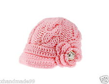 Newborn Baby Girl knit hat crochet flower gold buttons 3-6 month Photo Prop pnik