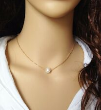 Delicate Simulated Single Pearl Gold Plated Chain Pendant Necklace Jewelry