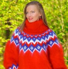 Red hand knitted mohair sweater Icelandic fuzzy Nordic pullover by SUPERTANYA
