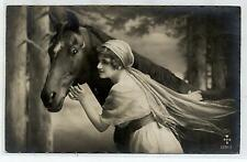 Ragazza con Cavallo Horse Lady Real Photo PC Vera Foto Viaggiata 1922