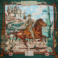 Pristine HERMES The Pony Express SILK SCARF by Kermit Oliver