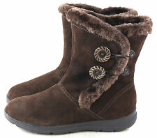White Mountain Women's Trip Lined Suede Winter Snow Boot Dark Brown Size 7 M