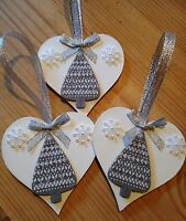 3 X New Christmas Decorations Handmade Country Tree Snowflake Silver Grey