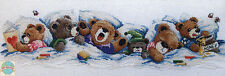 Cross Stitch Kit ~ Janlynn Bedtime Row of 6 Sleepy Teddy Bears #195-0601