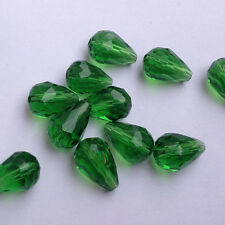 20pcs 8x12mm Teardrop Glass Faceted Loose Crystal Spacer Beads grass green!!!