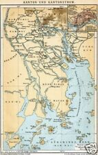 1892= KANTON = Antica MAPPA= OLD MAP