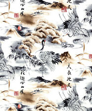 Scenic Landscape:  Charcoal Asian Japanese Quilt Fabric -1/2 Yd.