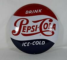Ande Rooney Tin Sign - Drink Pepsi Cola Button - New