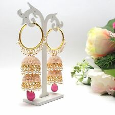 Indian Bridal Jewellery Asian Ethnic Wear Polki Bali Jhumki Earrings Length:3.5""