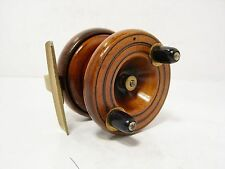 "Vintage Antique Wooden & Brass Smith & Wall 2½"" Spineback Fishing Reel"