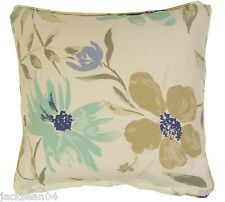 FILLED 2X DUCK EGG BLUE CREAM COTTON BLEND FLORAL CUSHIONS 45.7cm TO MATCH