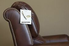 POWER Barcalounger Churchill II Genuine Dark Double Fudge Leather Recliner Chair