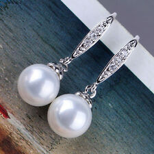 Stunning 18K white gold filled lady pearl& white topaz lady dangle earring