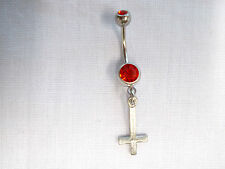 PEWTER SATANIC OCCULT INVERTED EVIL CROSS DANGLING CHARM w RED CZ BELLY RING BAR