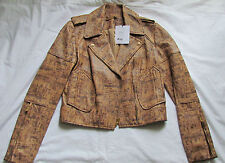 DIANE von FURSTENBERG Cork Print Soft Leather Motorcycle jacket/coat Size 0,XXS