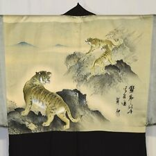 """Three Tigers"" Vintage Japanese Men's Silk Haori Jacket Kimono Collectible"