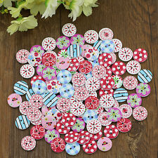 100x Sightly Mix Wooden Painting Buttons Craft Scrapbook Sewing Cardmaking DIY