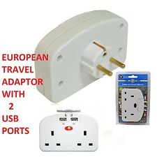 UK To EU Euro Europe European Travel Adapter Power Double Plug With 2 USB Ports
