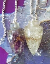 2 ULTRA ACCURATE ORGONE AMETHYST AND CRYSTAL QUARTZ DOWSING PENDULUMS