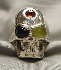 Men's Jeweled Sterling Skull Ring - Onyx Green Tourmaline Garnet - Size 12.5