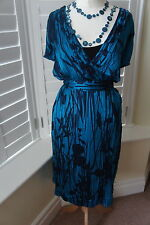 MONSOON TEAL GREEN BLACK CRINKLE CALF LENGTH SILK OCCASION DRESS SIZE 22 VGC