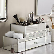 NEW! DELUXE MAKEUP ORGANIZER - SILVER MIRROR TIERED 3 DRAWER COSMETIC DISPLAY
