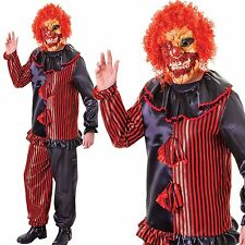 Adult Scary Zombie Clown Fancy Dress Halloween Circus Horror Costume w/ Mask