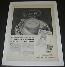 Print Ad 1938 Campbell's Cream of Mushroom Soup Lavish in leaf handled bowl.