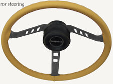FITS MG TF MIDGET 1953-1955 REAL BEIGE ITALIAN LEATHER STEERING WHEEL COVER NEW
