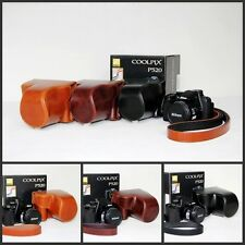 NEW leather case bag to Nikon COOLPIX P520 P510 P500 camera black brown coffee