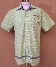 EXC COND VTG TOMMY HILFIGER JEANS MENS MEDIUM Spell Out Green Gingham S/S Shirt