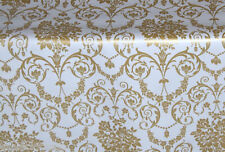 """1m/39"""" damask wipe clean wipeable oilcloth white gold vinyl pvc TABLE CLOTH CO"""