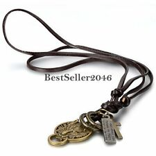 Men's Bronze Tone Wolf Head Round Pendant Necklace w Black Leather Cord Chain
