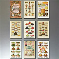 9 Victorian Print Fridge magnets From Mrs Beeton's Cook Book Repro