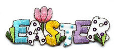 "EASTER TEXT EMBROIDERED/SEQUINS 3 1/8"" IRON ON APPLIQUE"