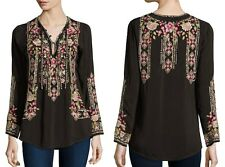$220 JOHNNY WAS EMBROIDERED TUNIC TOP FABIO DARK COCOA BROWN SZ  XL NWT