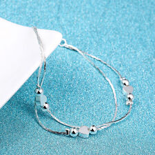 Women Fashion 925 Sterling Silver Plated Bead Heart Bangle Wrist Ankle Bracelet