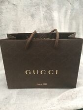 New Gucci 100% Auth. Brown Shopping Bag Jewelry Perfume Scarf Accessory Small